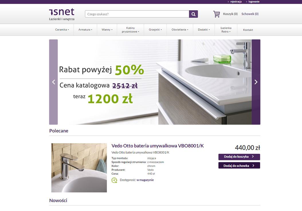 Isnet - łazienki, wyposażenie wnętrz